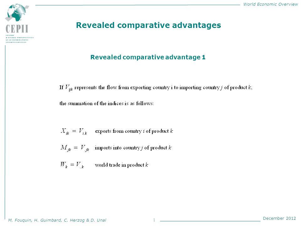 World Economic Overview M. Fouquin, H. Guimbard, C. Herzog & D. Unal December 2012 1 Revealed comparative advantages Revealed comparative advantage 1