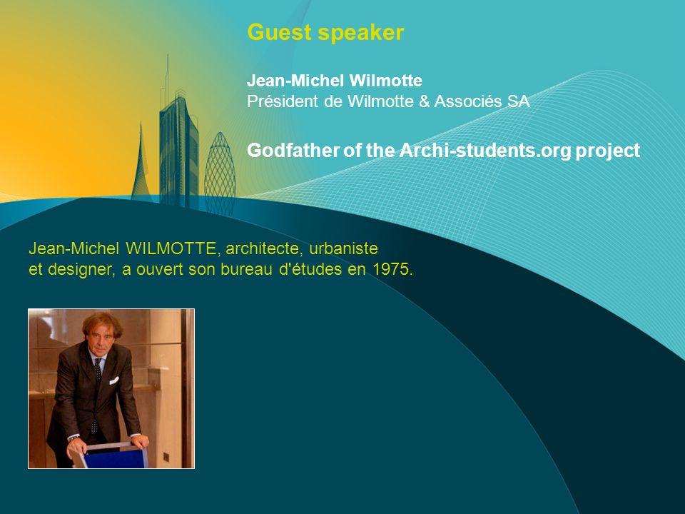 Jean-Michel WILMOTTE, architecte, urbaniste et designer, a ouvert son bureau d'études en 1975. Jean-Michel Wilmotte Président de Wilmotte & Associés S