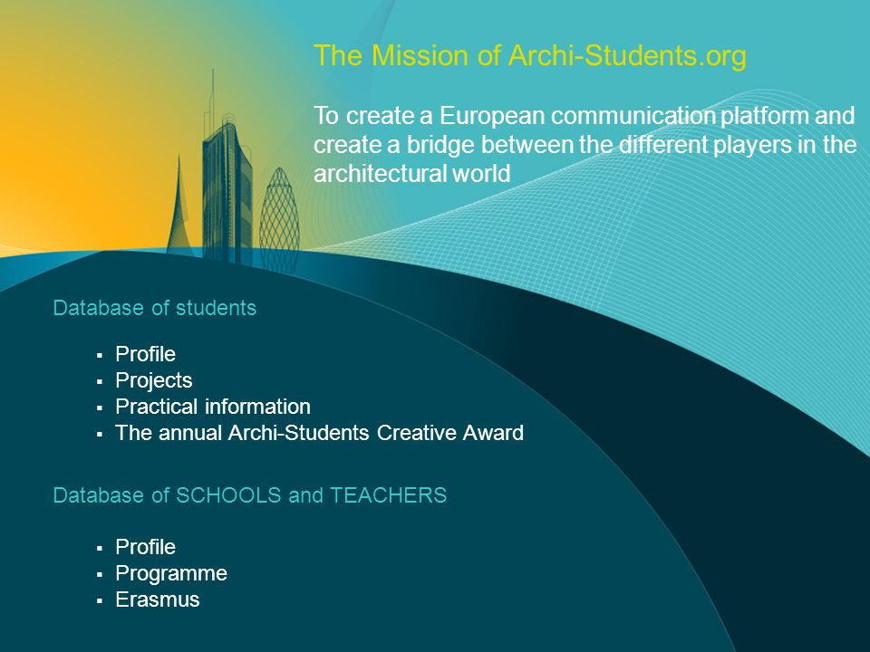 Database of students Profile Projects Practical information The annual Archi-Students Creative Award Database of SCHOOLS and TEACHERS Profile Programm