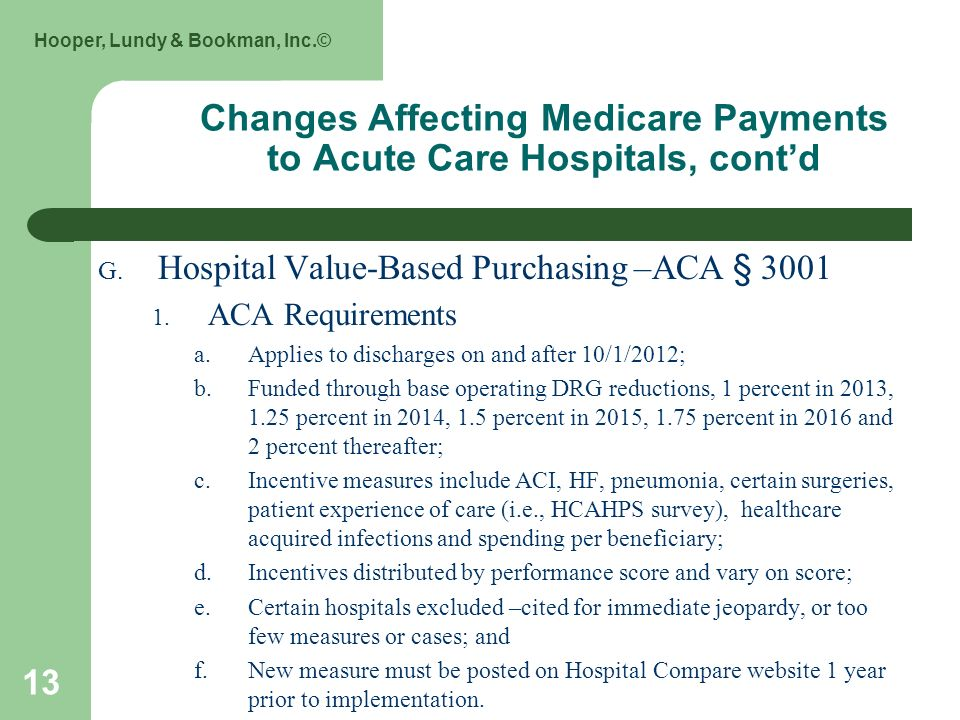 Hooper, Lundy & Bookman, Inc.© 13 Changes Affecting Medicare Payments to Acute Care Hospitals, contd G.