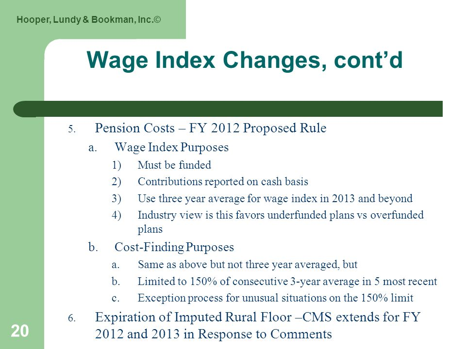Hooper, Lundy & Bookman, Inc.© 20 Wage Index Changes, contd 5.