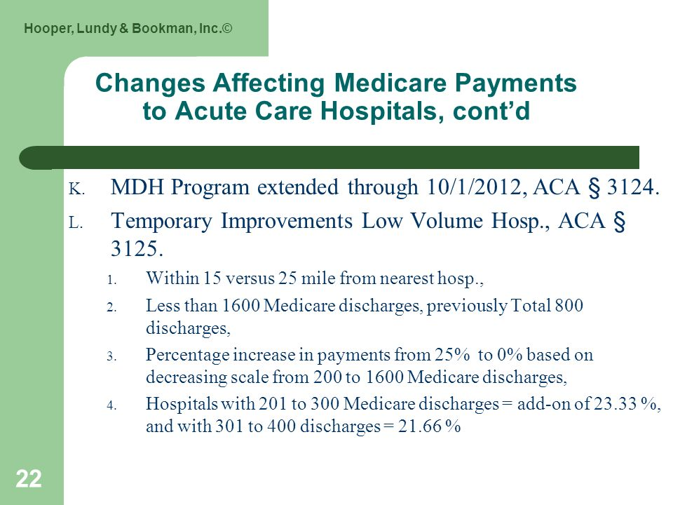 Hooper, Lundy & Bookman, Inc.© 22 Changes Affecting Medicare Payments to Acute Care Hospitals, contd K. MDH Program extended through 10/1/2012, ACA §