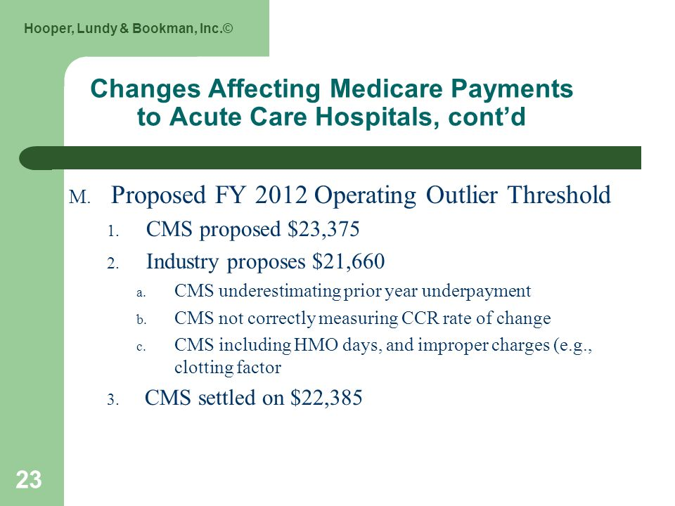 Hooper, Lundy & Bookman, Inc.© 23 Changes Affecting Medicare Payments to Acute Care Hospitals, contd M. Proposed FY 2012 Operating Outlier Threshold 1