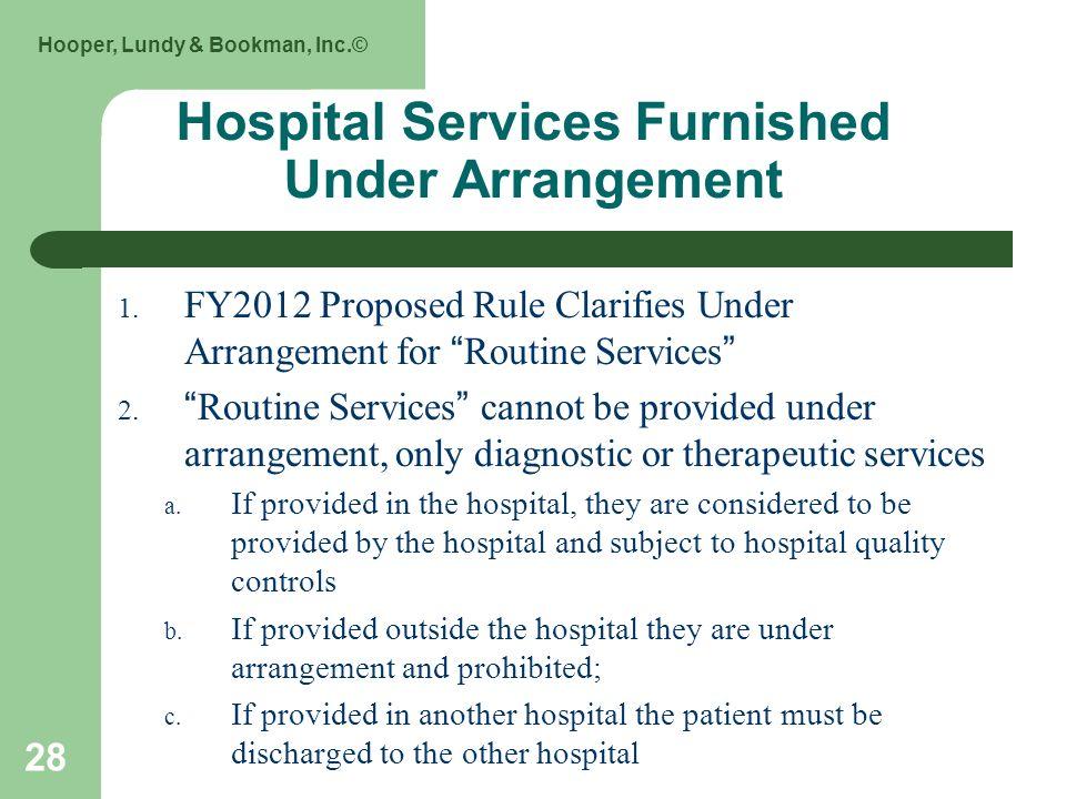 Hooper, Lundy & Bookman, Inc.© 28 Hospital Services Furnished Under Arrangement 1.