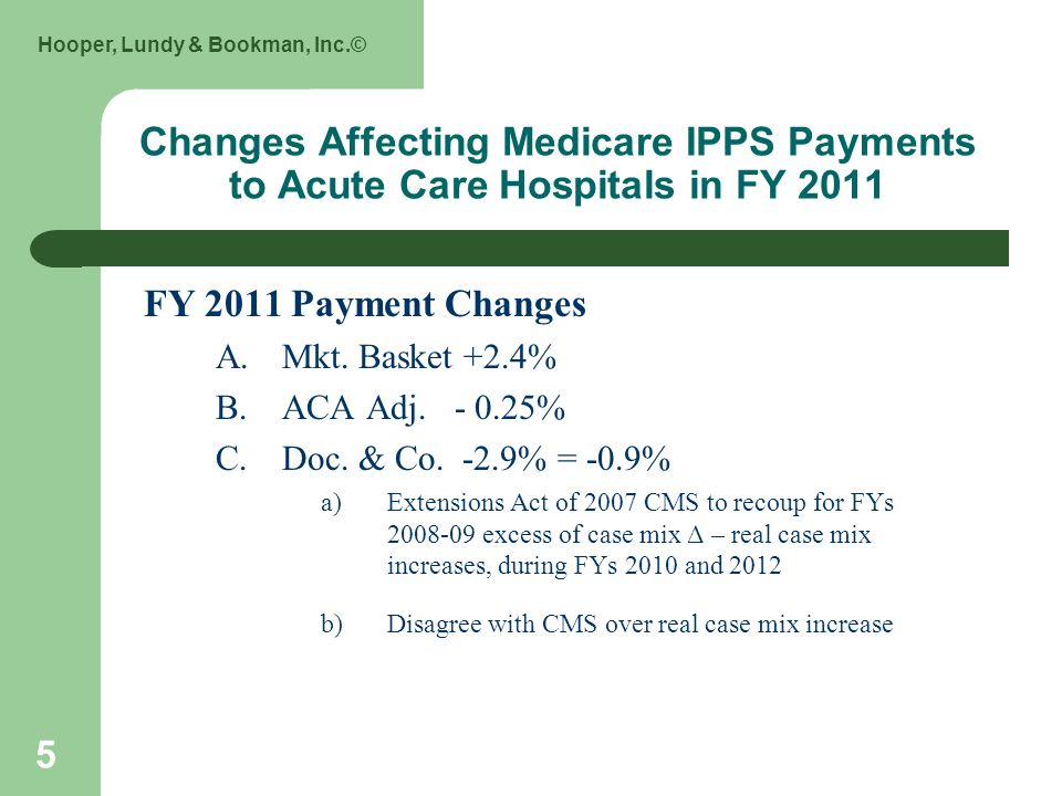 Hooper, Lundy & Bookman, Inc.© 5 Changes Affecting Medicare IPPS Payments to Acute Care Hospitals in FY 2011 FY 2011 Payment Changes A.Mkt. Basket +2.