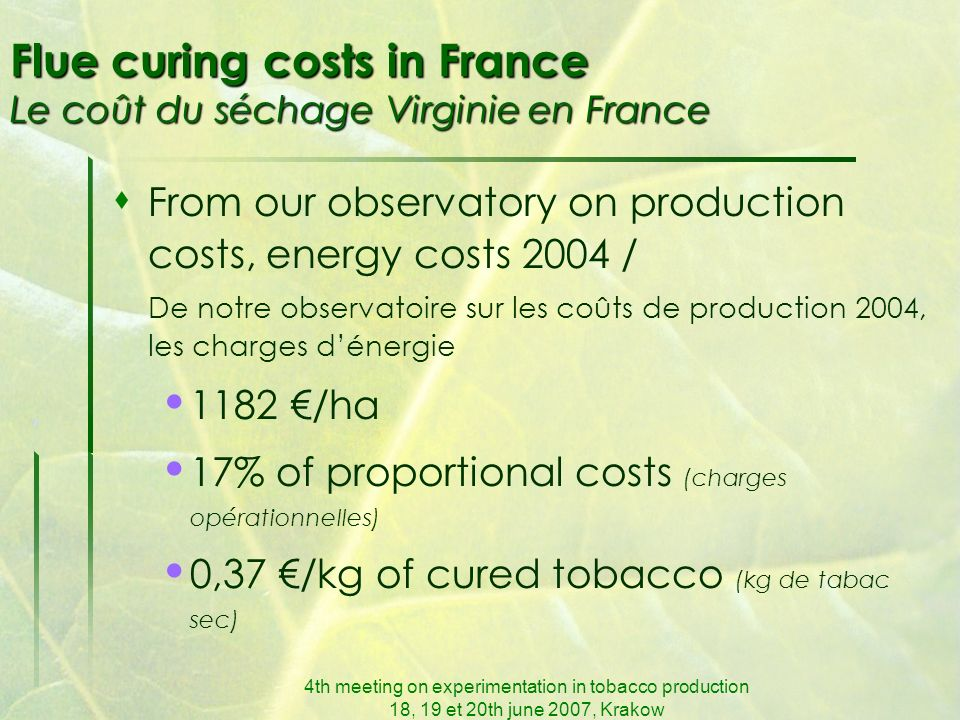 4th meeting on experimentation in tobacco production 18, 19 et 20th june 2007, Krakow Flue curing costs in France Le coût du séchage Virginie en France From our observatory on production costs, energy costs 2004 / De notre observatoire sur les coûts de production 2004, les charges dénergie 1182 /ha 17% of proportional costs (charges opérationnelles) 0,37 /kg of cured tobacco (kg de tabac sec)