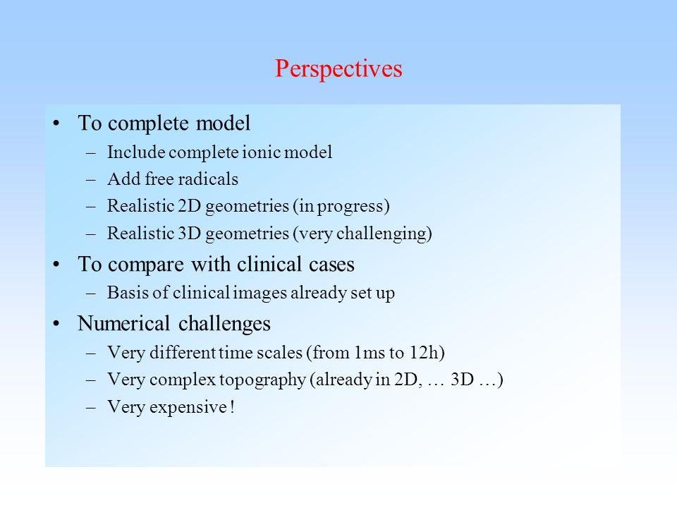 Perspectives To complete model –Include complete ionic model –Add free radicals –Realistic 2D geometries (in progress) –Realistic 3D geometries (very challenging) To compare with clinical cases –Basis of clinical images already set up Numerical challenges –Very different time scales (from 1ms to 12h) –Very complex topography (already in 2D, … 3D …) –Very expensive !