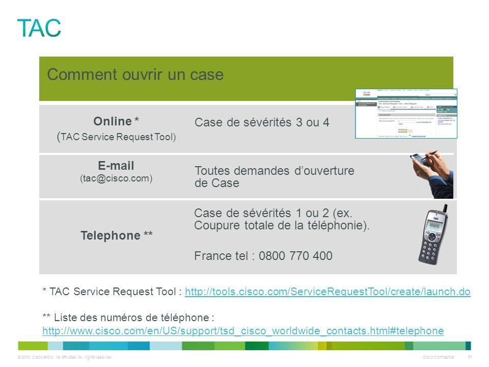 © 2010 Cisco and/or its affiliates. All rights reserved. Cisco Confidential 51 Online * ( TAC Service Request Tool) E-mail (tac@cisco.com) Telephone *