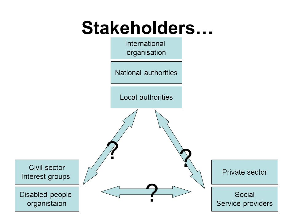 Stakeholders… International organisation Local authorities Civil sector Interest groups Disabled people organistaion Social Service providers Private sector .