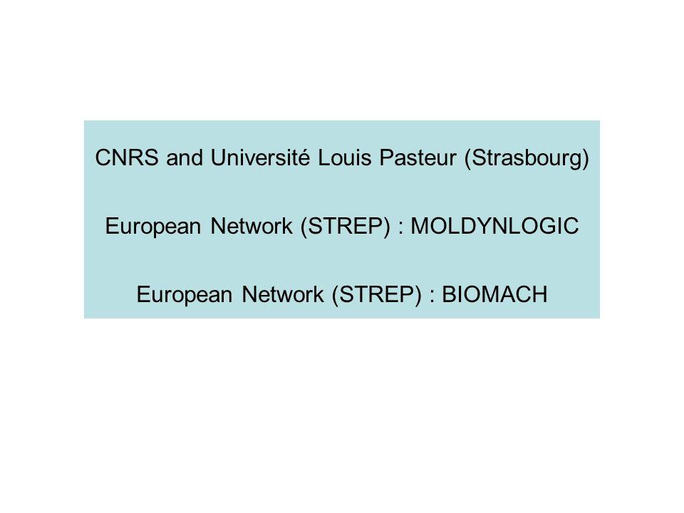 CNRS and Université Louis Pasteur (Strasbourg) European Network (STREP) : MOLDYNLOGIC European Network (STREP) : BIOMACH
