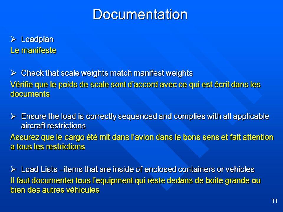 11 Documentation Loadplan Loadplan Le manifeste Check that scale weights match manifest weights Check that scale weights match manifest weights Vérifi