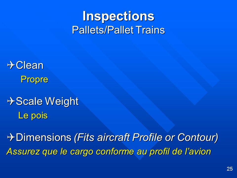 25 Inspections Pallets/Pallet Trains Clean Clean Propre Propre Scale Weight Scale Weight Le pois Dimensions (Fits aircraft Profile or Contour) Dimensi