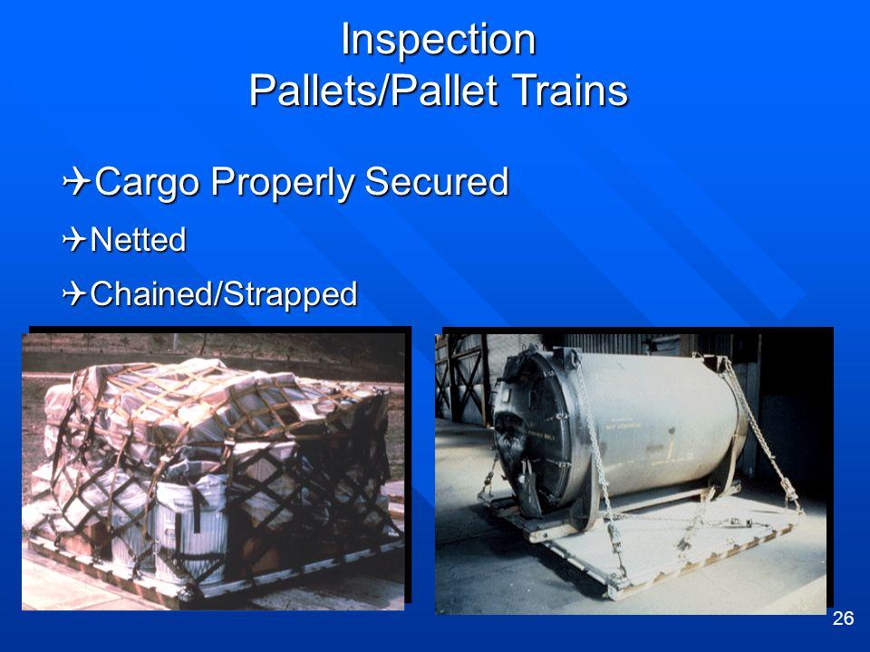 26 Cargo Properly Secured Cargo Properly Secured Netted Netted Chained/Strapped Chained/Strapped Inspection Pallets/Pallet Trains