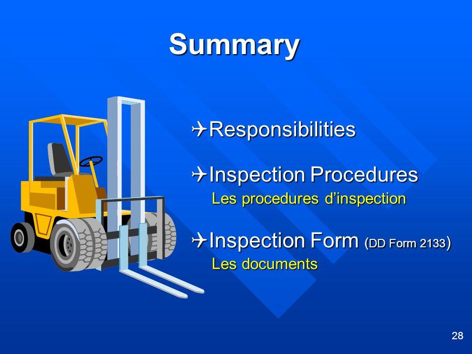 28 Summary Responsibilities Responsibilities Inspection Procedures Inspection Procedures Les procedures dinspection Les procedures dinspection Inspect