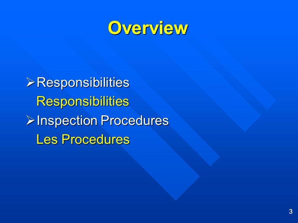 3 Overview Responsibilities Responsibilities Inspection Procedures Inspection Procedures Les Procedures Les Procedures