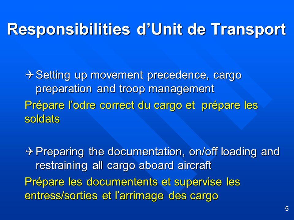 5 Responsibilities dUnit de Transport Setting up movement precedence, cargo preparation and troop management Setting up movement precedence, cargo pre