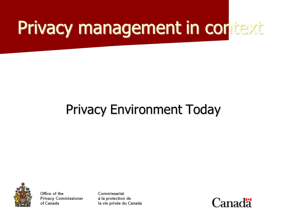 Office of theCommissariat Privacy Commissionerà la protection de of Canadala vie privée du Canada Privacy management in context Privacy Environment To