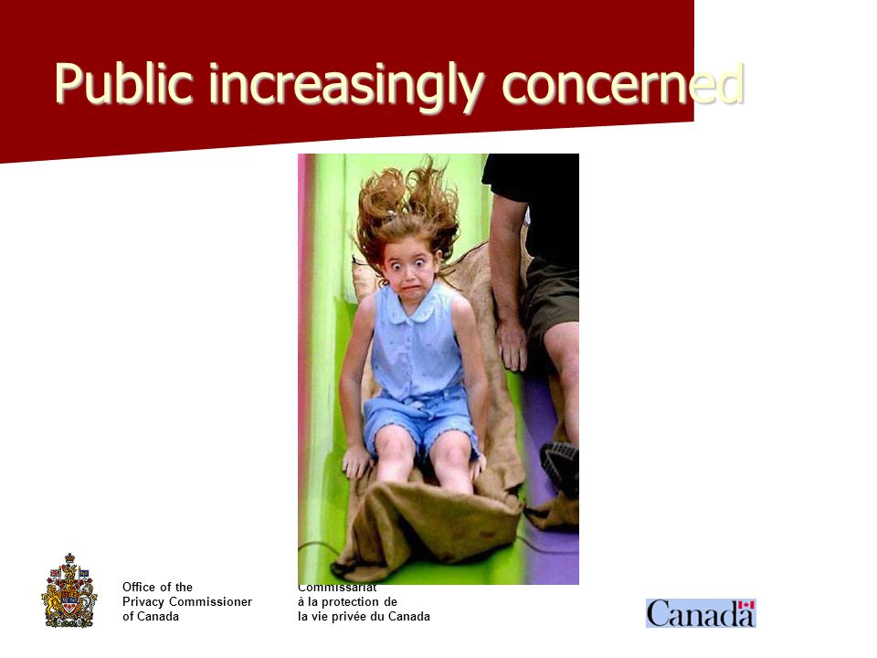 Office of theCommissariat Privacy Commissionerà la protection de of Canadala vie privée du Canada Public increasingly concerned