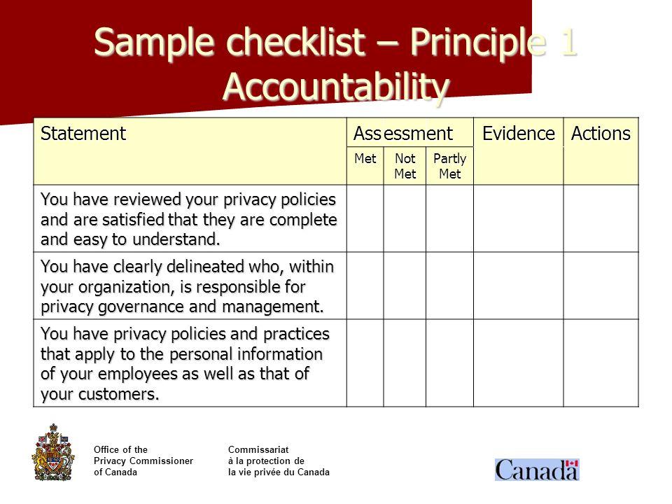 Office of theCommissariat Privacy Commissionerà la protection de of Canadala vie privée du Canada Sample checklist – Principle 1 Accountability Statem
