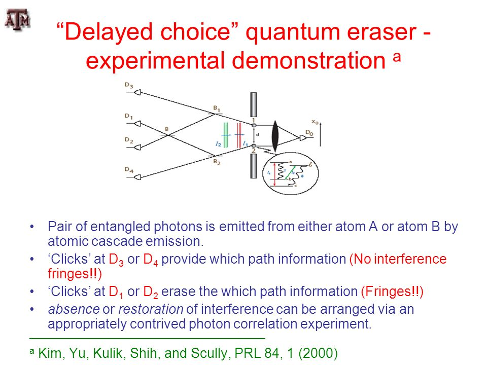 Delayed choice quantum eraser - experimental demonstration a Pair of entangled photons is emitted from either atom A or atom B by atomic cascade emiss