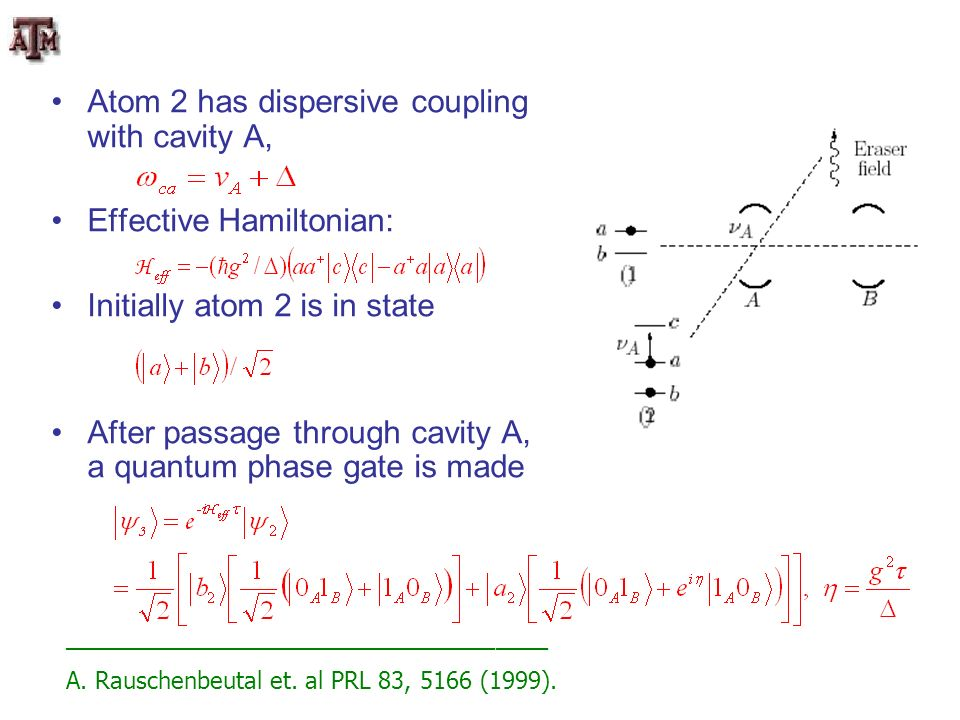 Atom 2 has dispersive coupling with cavity A, Effective Hamiltonian: Initially atom 2 is in state After passage through cavity A, a quantum phase gate