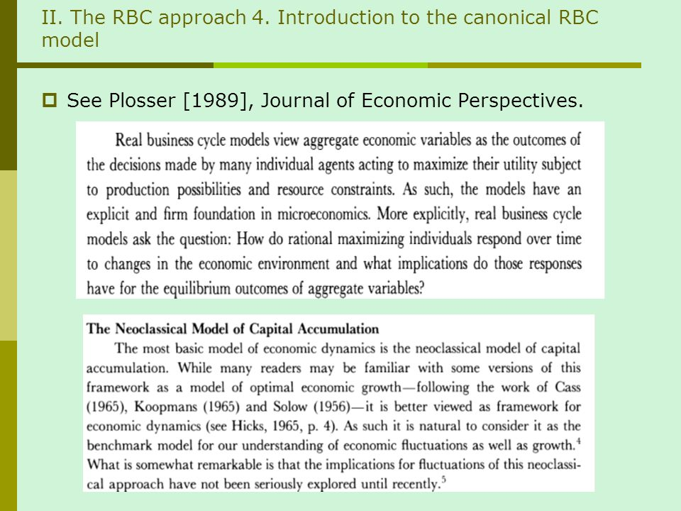 II. The RBC approach 4.