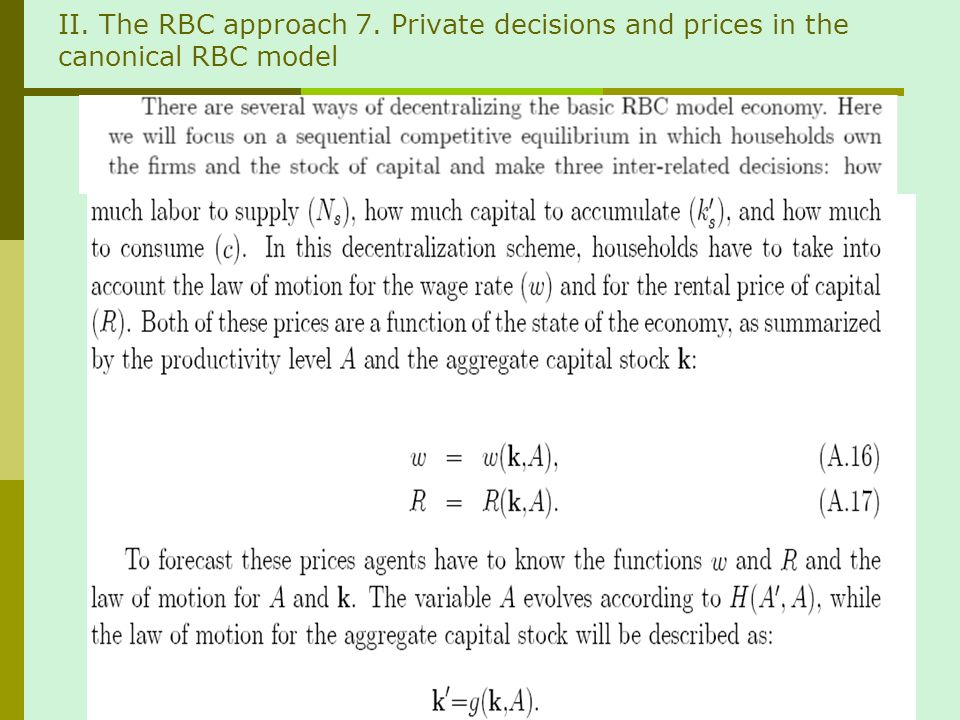 II. The RBC approach 7. Private decisions and prices in the canonical RBC model