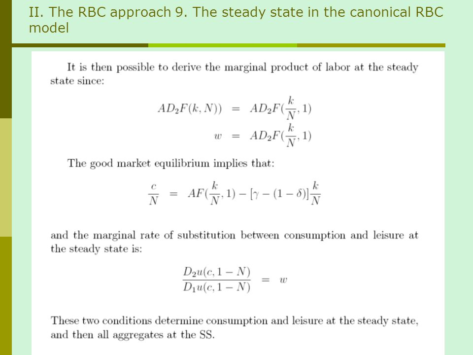 II. The RBC approach 9. The steady state in the canonical RBC model