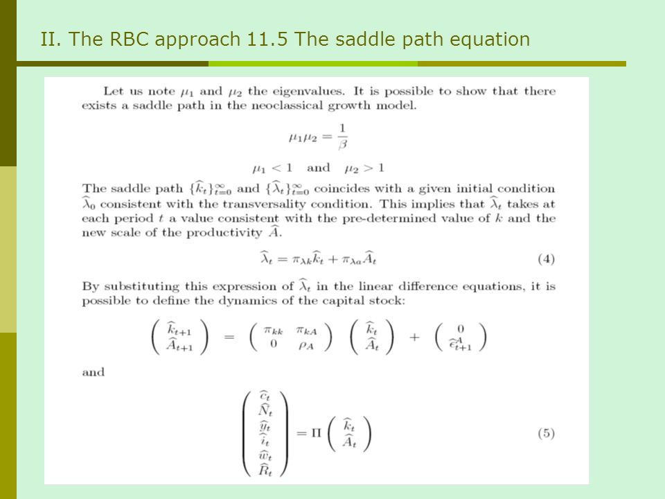 II. The RBC approach 11.5 The saddle path equation