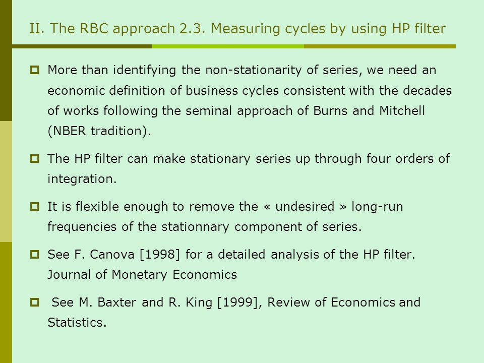 II. The RBC approach 2.3.