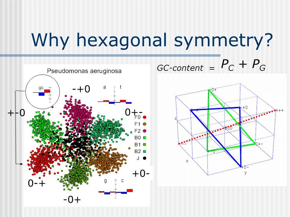 Why hexagonal symmetry 0-+ -+0 +0- +-0 -0+ 0+- GC-content = P C + P G