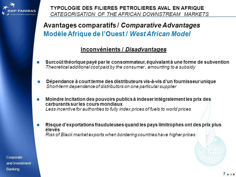 Corporate Banking and Investment 7 Inconvénients / Disadvantages Avantages comparatifs / Comparative Advantages Modèle Afrique de lOuest / West Africa