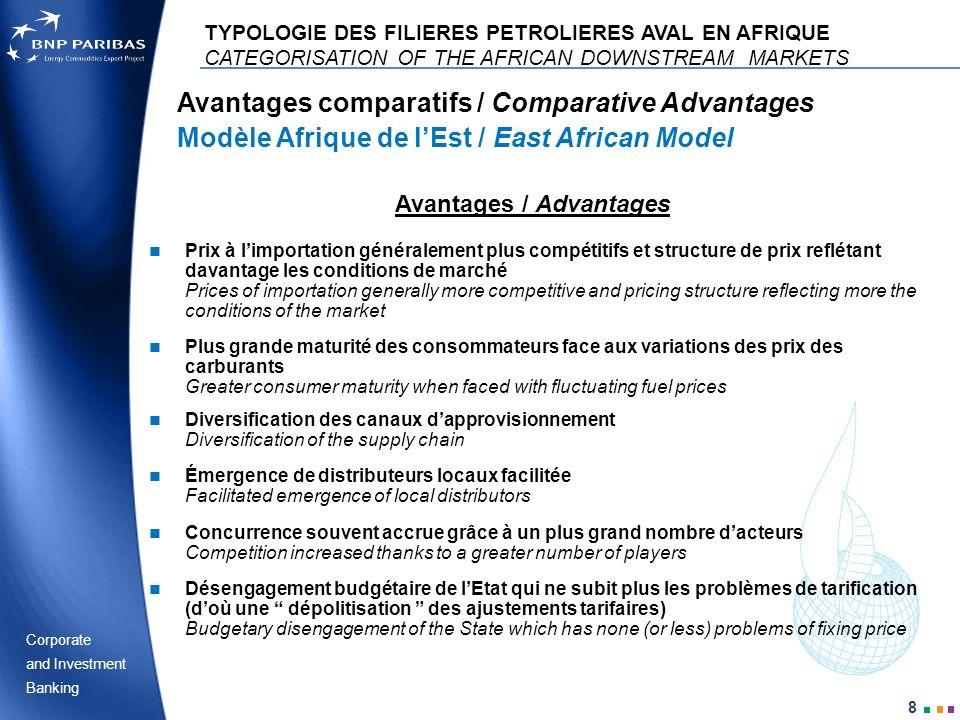 Corporate Banking and Investment 8 Avantages comparatifs / Comparative Advantages Modèle Afrique de lEst / East African Model TYPOLOGIE DES FILIERES P