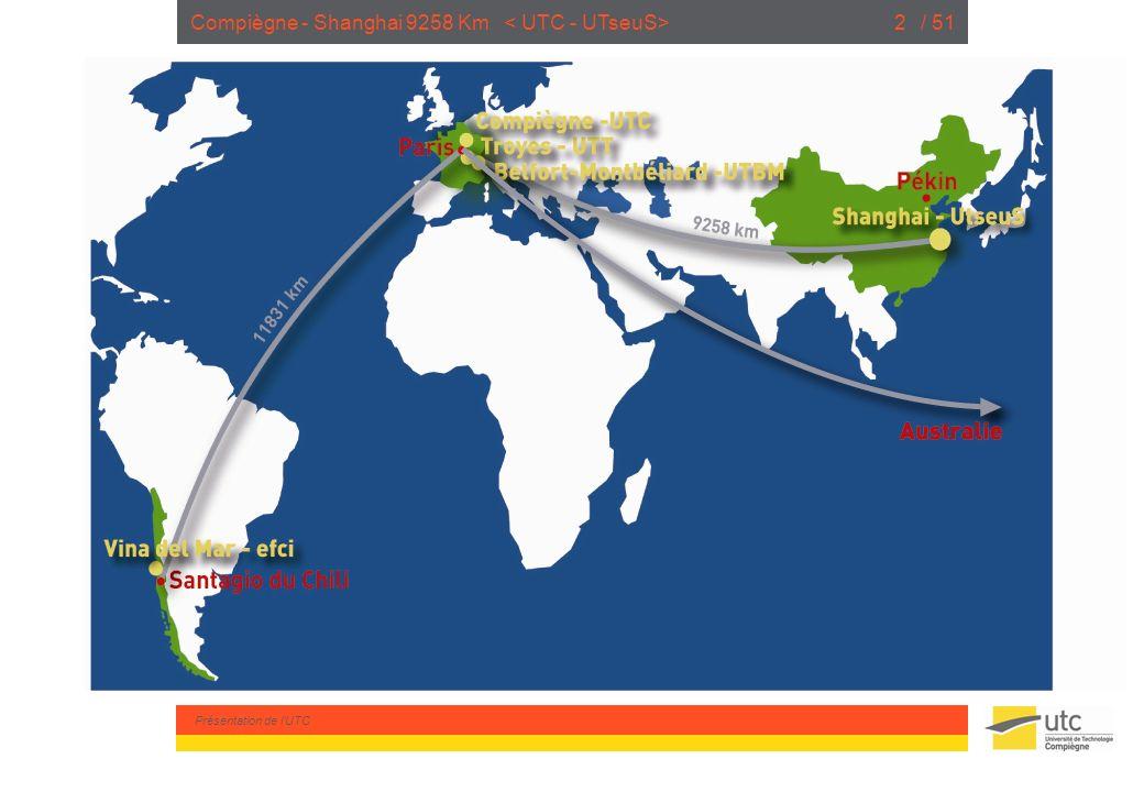 Présentation de lUTC / 512Compiègne - Shanghai 9258 Km