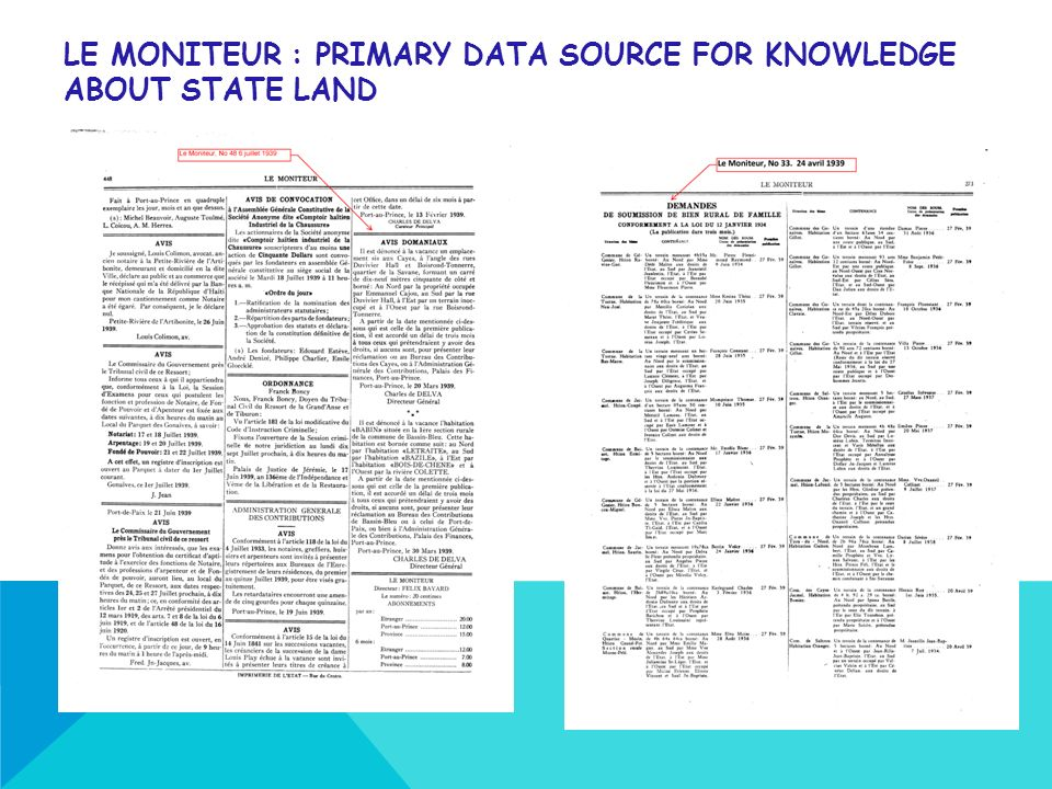 LE MONITEUR : PRIMARY DATA SOURCE FOR KNOWLEDGE ABOUT STATE LAND