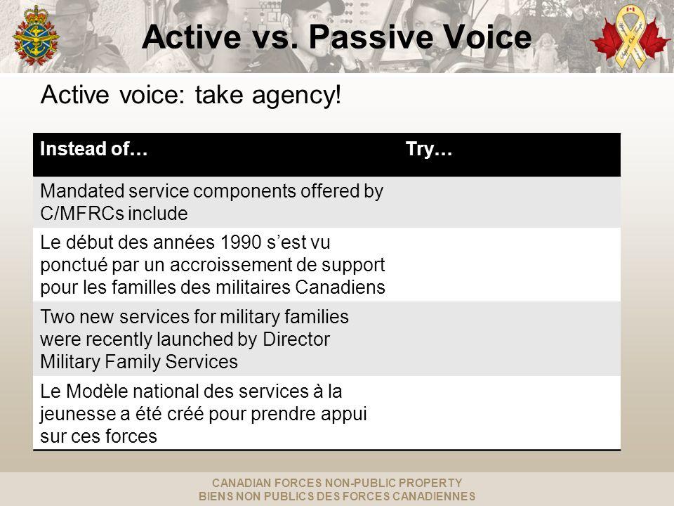 CANADIAN FORCES NON-PUBLIC PROPERTY BIENS NON PUBLICS DES FORCES CANADIENNES Active vs.