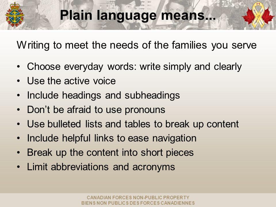 CANADIAN FORCES NON-PUBLIC PROPERTY BIENS NON PUBLICS DES FORCES CANADIENNES Plain language means...