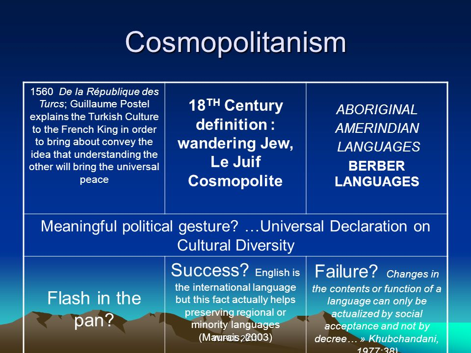 WIPCE 2011 Cosmopolitanism 1560 De la République des Turcs; Guillaume Postel explains the Turkish Culture to the French King in order to bring about convey the idea that understanding the other will bring the universal peace 18 TH Century definition : wandering Jew, Le Juif Cosmopolite ABORIGINAL AMERINDIAN LANGUAGES BERBER LANGUAGES Meaningful political gesture.