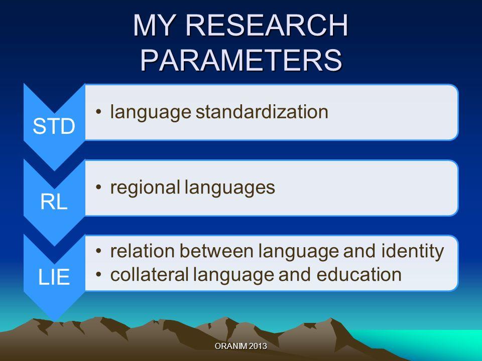 MY RESEARCH PARAMETERS STD language standardization RL regional languages LIE relation between language and identity collateral language and education ORANIM 2013