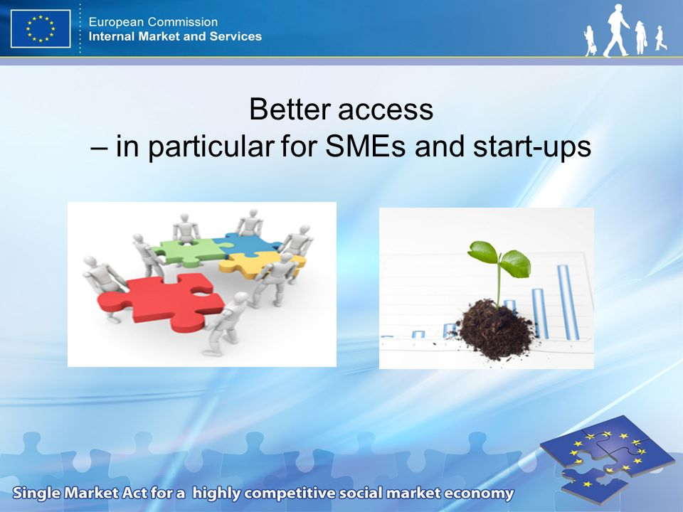 Better access – in particular for SMEs and start-ups