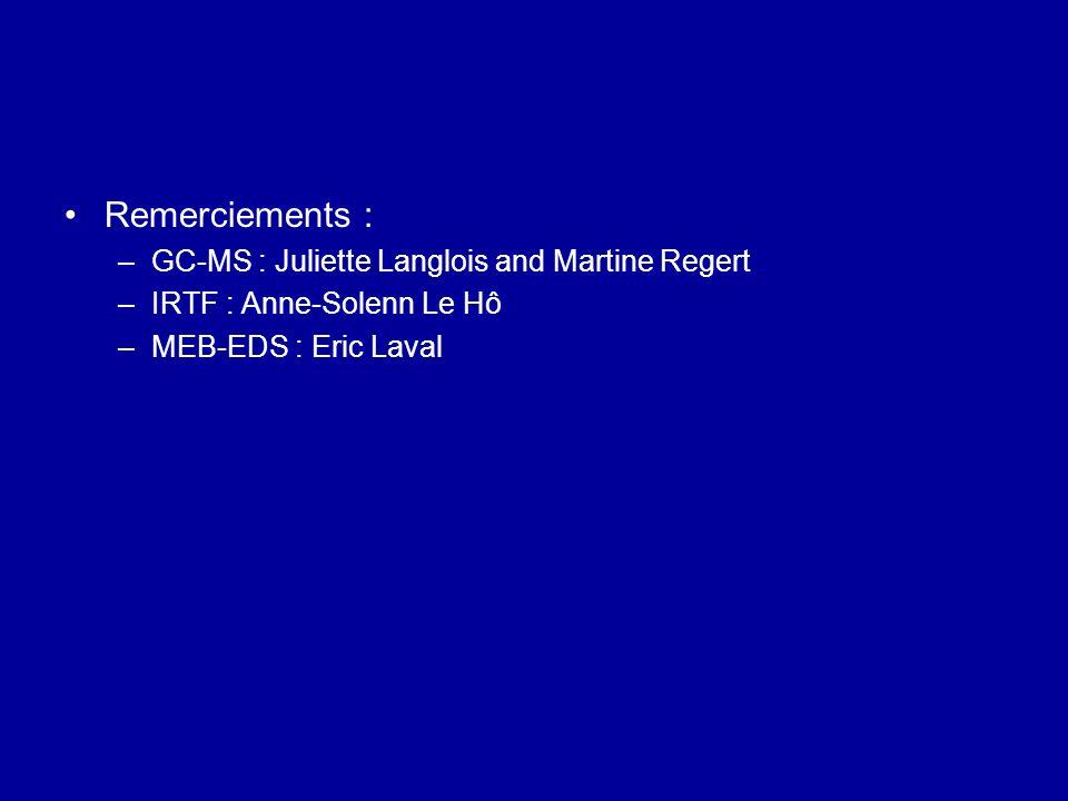 Remerciements : –GC-MS : Juliette Langlois and Martine Regert –IRTF : Anne-Solenn Le Hô –MEB-EDS : Eric Laval