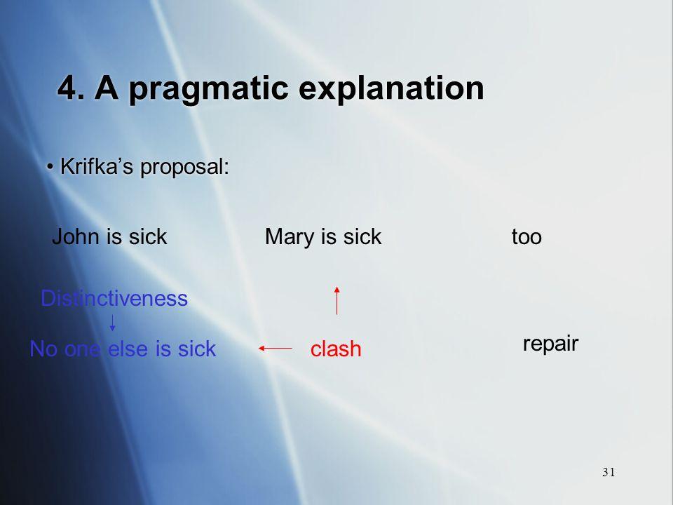 31 4. A pragmatic explanation Krifkas proposal: John is sickMary is sick Distinctiveness No one else is sick repair clash too