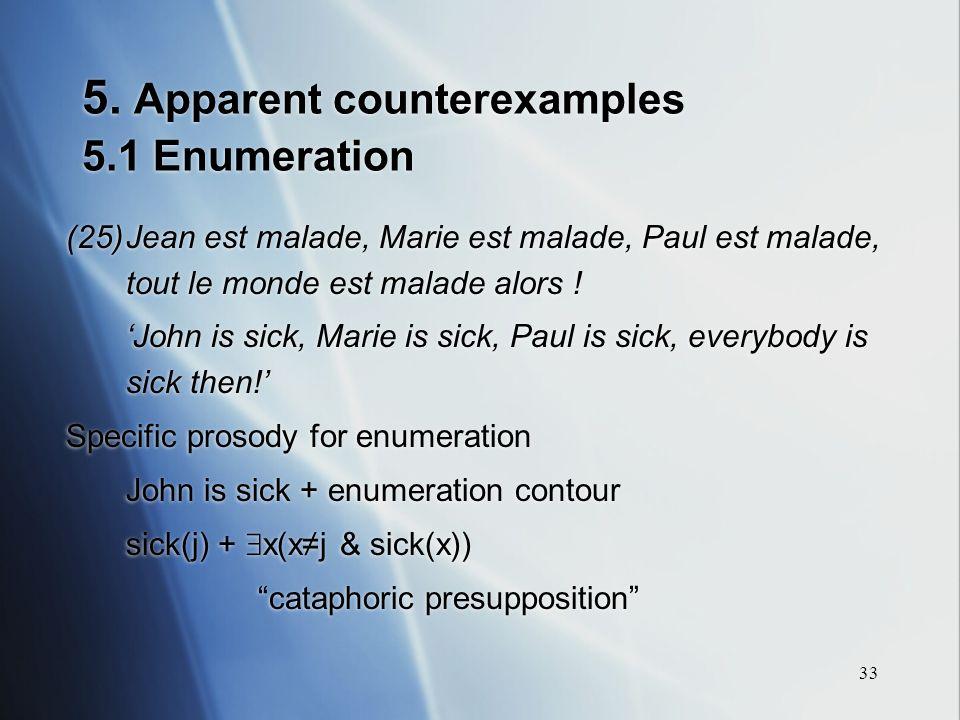 33 5. Apparent counterexamples 5.1 Enumeration (25)Jean est malade, Marie est malade, Paul est malade, tout le monde est malade alors ! John is sick,