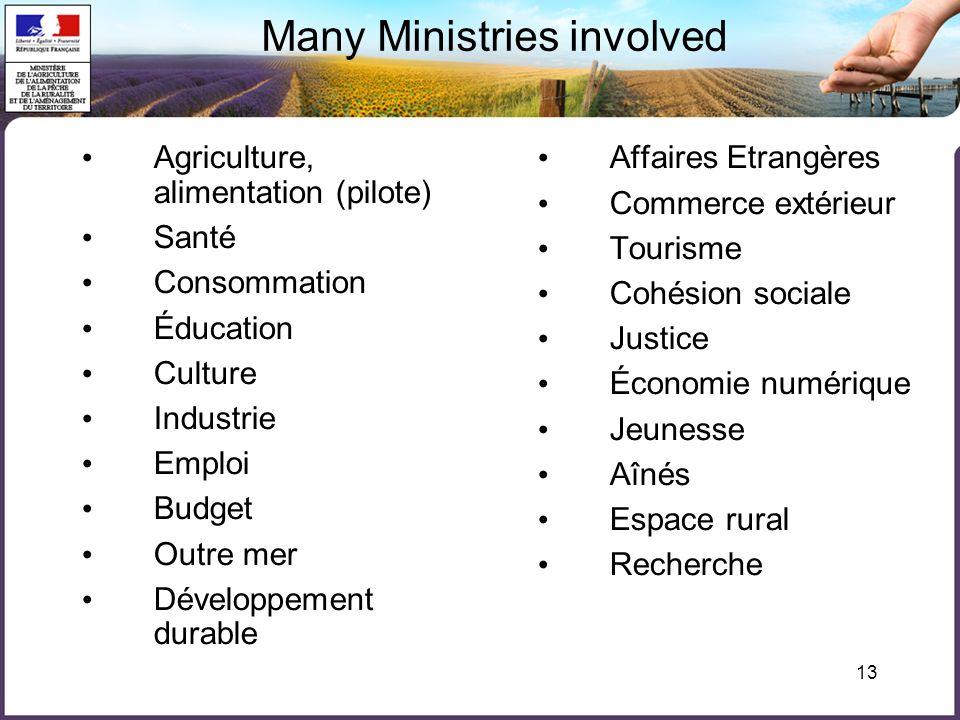 13 Many Ministries involved Agriculture, alimentation (pilote) Santé Consommation Éducation Culture Industrie Emploi Budget Outre mer Développement du
