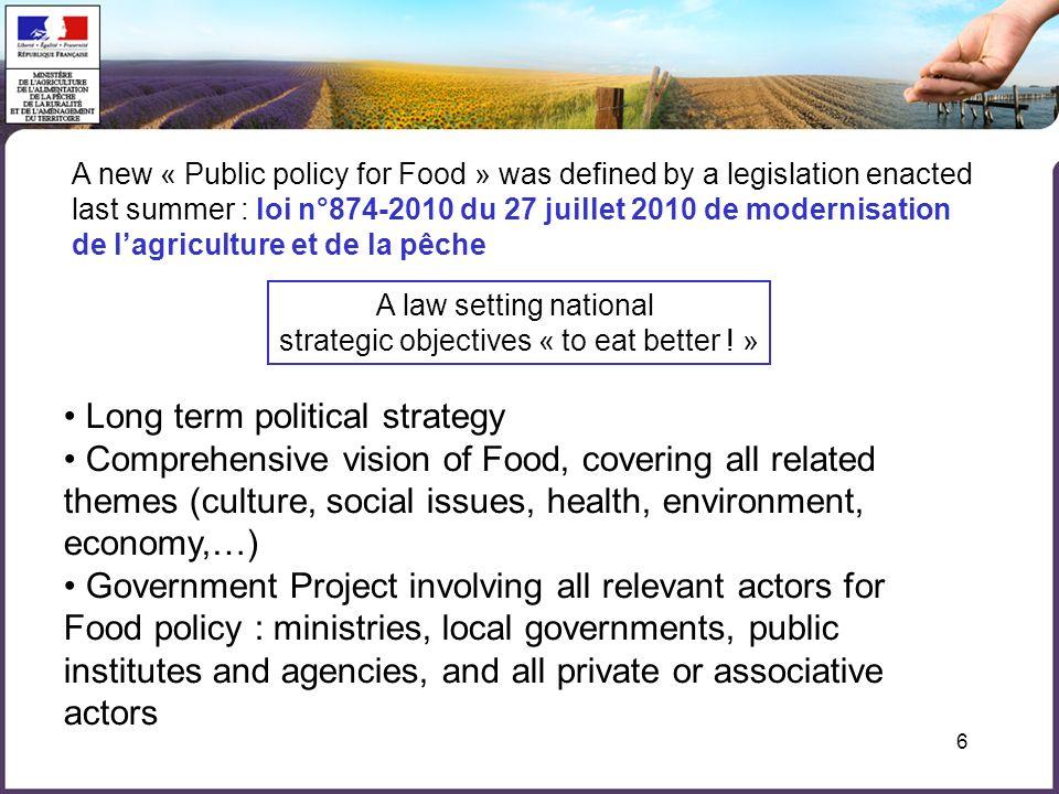 6 A new « Public policy for Food » was defined by a legislation enacted last summer : loi n°874-2010 du 27 juillet 2010 de modernisation de lagricultu