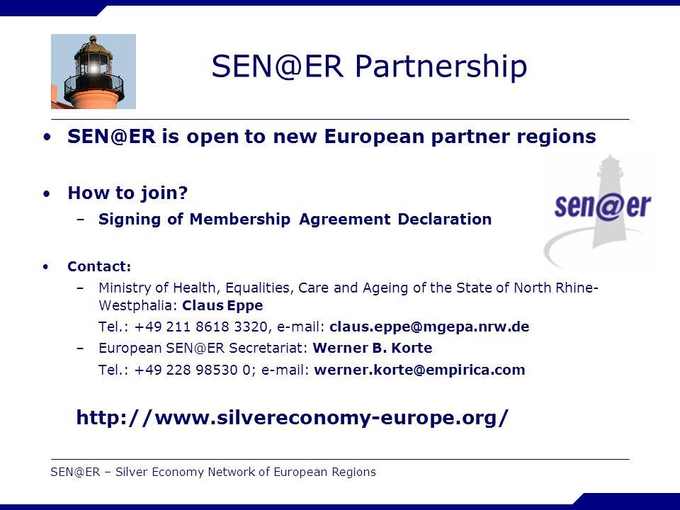 SEN@ER – Silver Economy Network of European Regions SEN@ER Partnership SEN@ER is open to new European partner regions How to join.