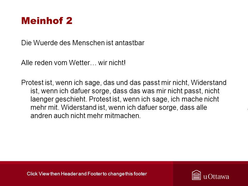 Meinhof 2 Die Wuerde des Menschen ist antastbar Alle reden vom Wetter… wir nicht.