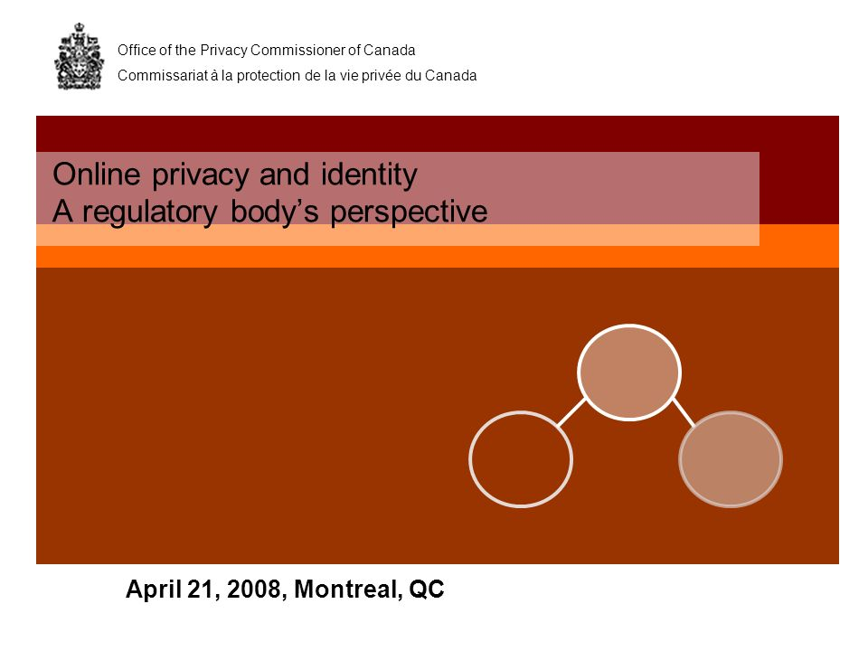 Office of the Privacy Commissioner of Canada Commissariat à la protection de la vie privée du Canada April 21, 2008, Montreal, QC Online privacy and i