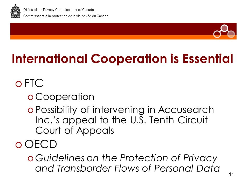 11 International Cooperation is Essential oFTC oCooperation oPossibility of intervening in Accusearch Inc.s appeal to the U.S. Tenth Circuit Court of
