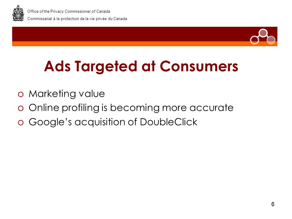 6 Ads Targeted at Consumers oMarketing value oOnline profiling is becoming more accurate oGoogles acquisition of DoubleClick Office of the Privacy Com